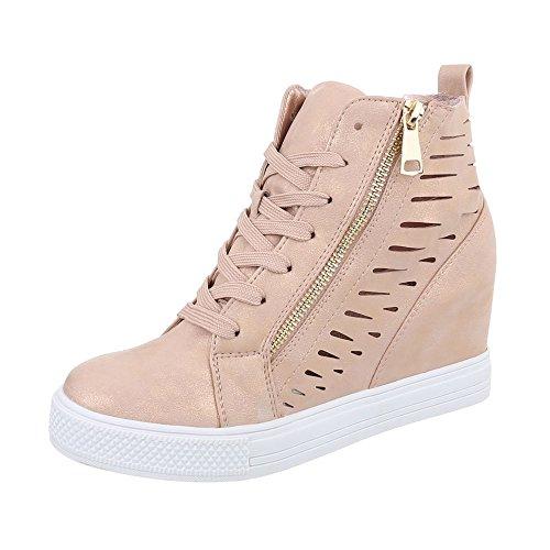 Ital-Design Sneakers High Damenschuhe Sneakers High Keilabsatz/Wedge Keilabsatz Reißverschluss Freizeitschuhe Altrosa JK-52