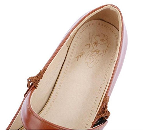 GLTER Frauen-Closed-Toe-Pumps-Band Straight Schuhe Knöchelriemen Sandalen Court Schuhe Brown