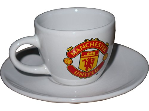 Forever Collectibles Manchester United Espresso Tasse mit Unterteller Weiß MUFC Premier League Fanartikel ManUnited Red Devils