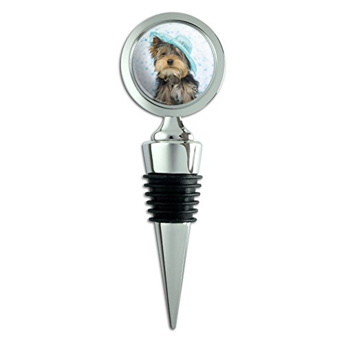 Yorkie Yorkshire Terrier Hund blau Hat Wein Flasche Stopper (Hund Wein Flasche)