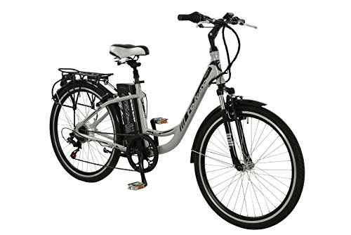Falcon Jolt Womens' Electric Bike Silver, 16.5″ inch aluminium frame, 6 speed lightweight low step zoom front suspension forks