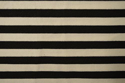 Bianco e nero Sailor Nautical Stripe Maglia in jersey elasticizzato