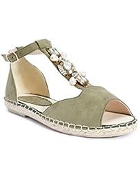 TRUFFLE COLLECTION Khaki Jewelled Flat Sandal