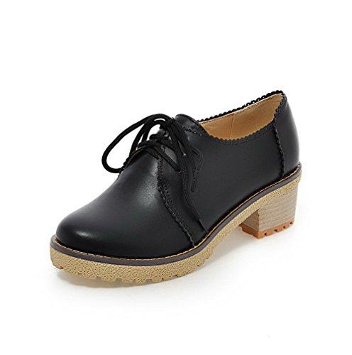AllhqFashion Femme Couleur Unie Matière Souple à Talon Correct Lacet Rond Chaussures Légeres Noir