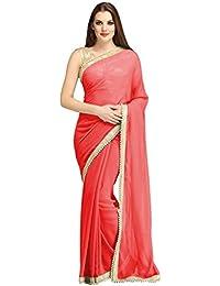 Floral Trendz Chiffon Saree For Women With Moti Border And Blouse Jari Silk