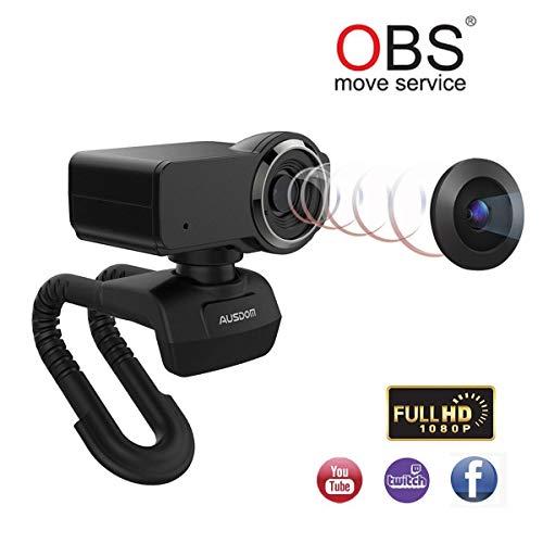 AUSDOM Webcam Streaming HD 1080P Videochiamate e Registrazione PRO Webcam PC USB Computer Camera con Microfono Streaming Cam per PC/Mac/Desktop Compatibile con Youtube o Twitch