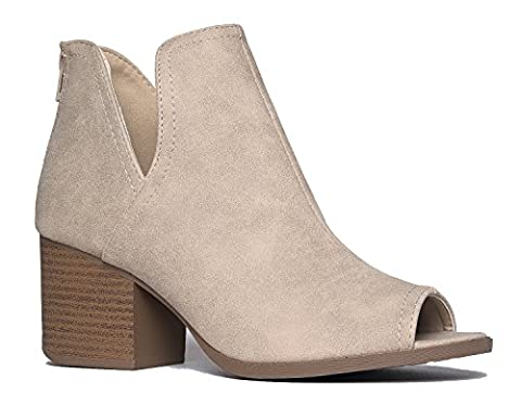Western Low Ankle Boot - Cut Out Stacked Heel Bootie - Comfortable Walking Shoe - Tabs by J. Adams