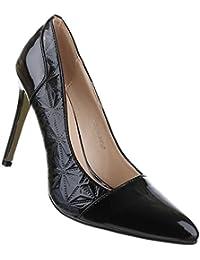 Klassische Frauen High Heels mit 11 cm Stiletto-Absatz in Schwarz und Größe 37 Synthetikoptik