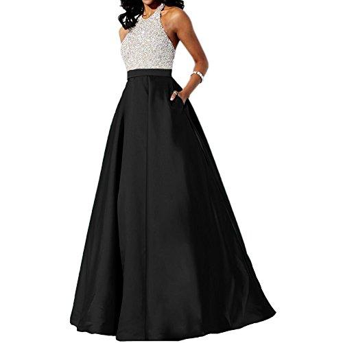 Baijinbai Formal Lang A-Line Satin Abendkleider Brautjungfernkleider Party Ball Kleider mit Pailetten S8Black-UK12 (Kleid Satin Elegantes)