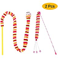 Cat Toys Cat Toy Kitten Toys, Two Styles Funny Interactive Cat toy, Cat Teaser Wand, Cuddly Stuffed Snake Cat Toy on Stick, Colorful Sounding Toys, Catching Eyes, Soft Material, One Rattled and One Jingles, 2Pcs