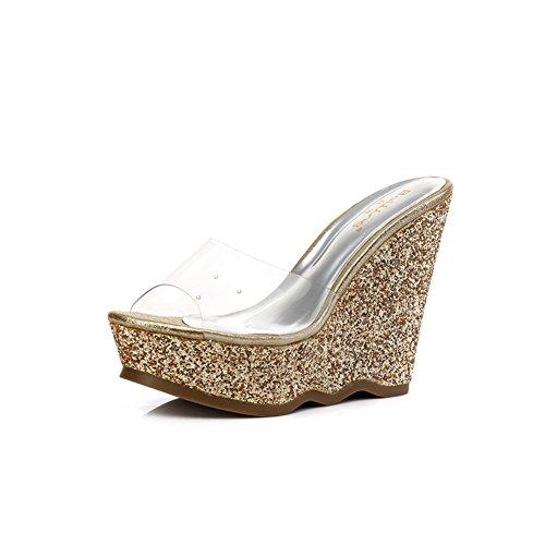 scarpe con piccolo/Estate Zeppe Sandali e ciabatte/Glitter trasparente tacchi piattaforma A