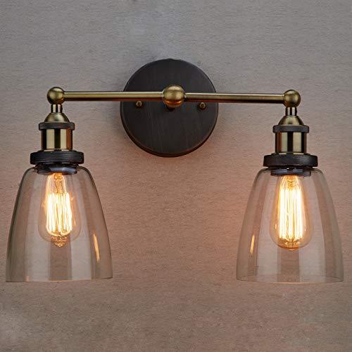 CLAXY Industrial Vintage Glas Wandleuchten 2 Lichter (ohne Bulb) -