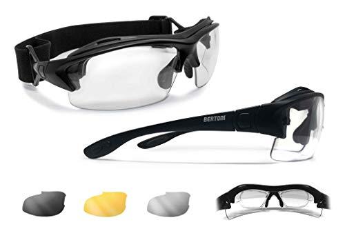 Bertoni occhiali sportivi da vista graduabili antivento avvolgenti per ciclismo running moto sci skydiving tennis - aste ed elastico intercambiabili - 3 lenti intercambiabili – af399a