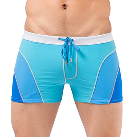 WALK-LEADER Mens Summer Breathable Swimsuit Short Trunk Swimming Boxers Blue