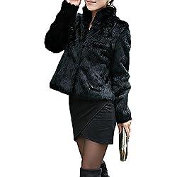 Corto Abrigo Mujer Collar del Soporte Chaqueta Invierno Chaquetas Pelo Sintético Abrigo de Piel Sintética de Pelo Chaqueta Outwear (Negro, EU 36=Tag M)