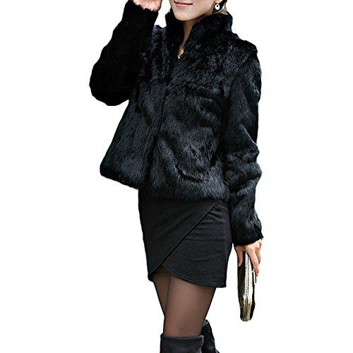 Corto Abrigo Mujer Collar del Soporte Chaqueta Invierno Chaquetas Pelo Sintético Abrigo...