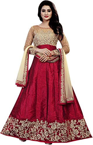 Khileshwai Fashion women's's Maroon Bangalory Silk Embroidered Anarkali Suit for (kr26)