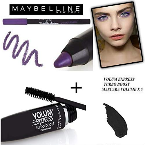 Kit/Set Mascara Gemey Maybeline Turbo Volum' Express Noir + Crayon Waterproof Master Drama Khol Liner Ultra Violet (2 Produits)