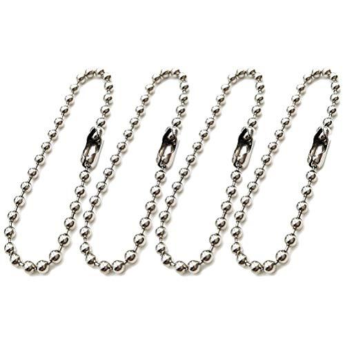 SELIFY 200 stücke Perle Stecker Verschluss Kugelkette Schlüsselbund Tag Schlüsselanhänger Einstellbare Metall Perle Stahlkette (Silber)
