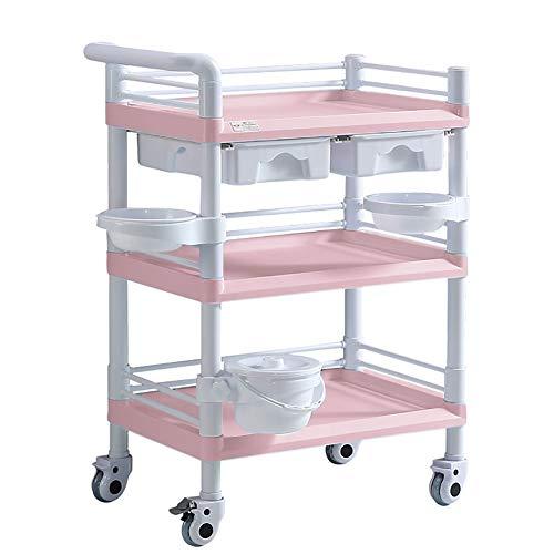 Storage trolley Rosa Medizinischer Wagen mit 3 Regalen Für Behandlungslabor / -Instrument, ABS Beauty Rolling Equipment Warenkorb mit Doppelschubladen (Size : 65x45x98cm) - Antike Warenkorb