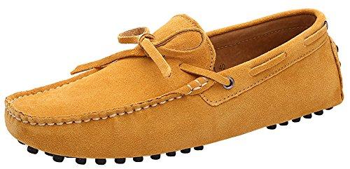 ZEROLING Herren Quaste Lederne Schuhe Suede Loafers Gelb