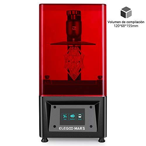 """ELEGOO MARS Impresora 3D UV Fotocurado con 3.5\"""" Pantalla Táctil Inteligente de Color Impresión Fuera de Línea 120mm(L) x 68mm(W) x 155mm(H) Tamaño de Impresión-Negro"""