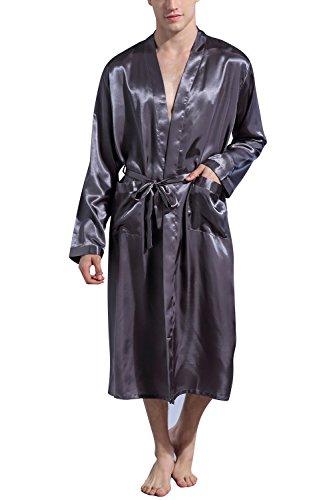 Dolamen Herren Morgenmantel Bademäntel Kimono, Weich u. Leicht glatte Luxus Satin Nachtwäsche Bademantel Robe Negligee locker Schlafanzug mit Belt & Pockets Grau