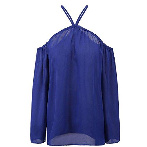 Bluse,Holeider Damen Trägerlos Irregulär Lange Ärmel Beiläufig T-Shirt Sommer Tops Blau