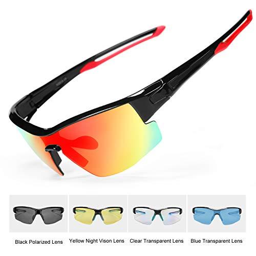 INBIKE Fahrradbrille Herren Sonnenbrille Damen Polarisiert Sportbrille Männer mit UV-Schutz 5 Wechselgläser für Radfahren Laufen Klettern Autofahren Angeln Golf Outdooraktivitäten,Rot