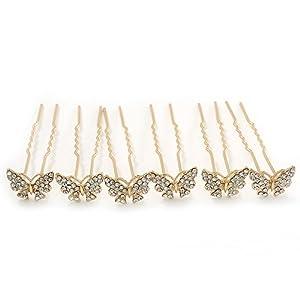 Brautschmuck/Hochzeit/Ball/Party, Set mit 6, vergoldeter Kristall, 'Schmetterling', Haarnadeln