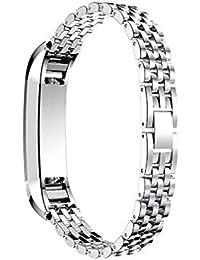 Scpink Correa de Moda, Correas de Fitbit Alta/Fitbit Alta HR/Fitbit Ace Metal Reemplazo/Pulseras/Accesorios de Correa para Fitbit (Plateado)