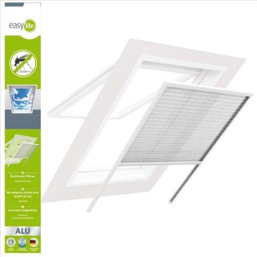 Preisvergleich Produktbild easy life Insektenschutz Plissee für Dachfenster 100 x 160 cm in Weiß Fliegengitter mit Alu-Rahmen Dachfensterplissee
