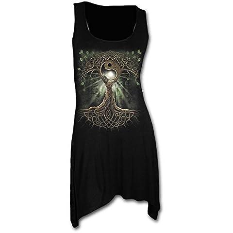 Spiral Tunique pour femme Style gothique Motif Oak Queen Noir - x-large