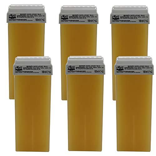 6 Stück 100 ml Premium Natural Honig Wachs Warmwachs Wachspatronen zur Haarentfernung Enthaarung Waxing