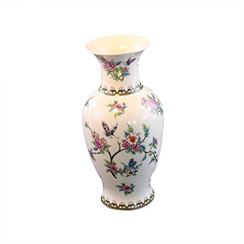 SK Studio Bodenvase Keramik Eis Knistern Vase Porzellan Blumen Container Tischdeko Haus Dekoration Schmetterlinge und Blumenmuster 18 * 39 cm