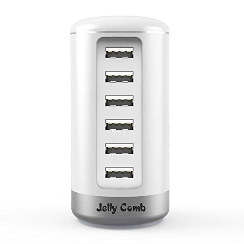 Jelly Comb Chargeur Secteur avec 6 Ports USB, Identification Intelligente, Blanc