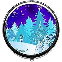 LinJxLee Merry Christmas Snow Round Pill Case Pill Box Tablet Vitamin Organizer Easy to Carry preisvergleich bei billige-tabletten.eu
