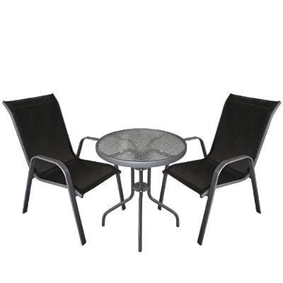 3tlg. Gartengarnitur Glastisch Bistrotisch mit geriffelter Tischglasplatte Ø60cm + stapelbare Gartenstühle Stapelstuhl Stahlgestell pulverbeschichtet mit Textilenbespannung Balkonmöbel Terrassenmöbel Gartenmöbel Sitzgruppe Sitzgarnitur