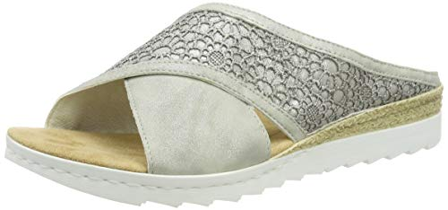 Rieker Damen 63096-40 Pantoletten, Grau (Grey/Staub-Silber 40), 39 EU