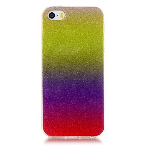 iPhone Case Cover Transparent Gradient couleur souple TPU Housse de protection Retour Couverture souple pour iPhone 5 5S ( Color : Red , Size : IPhone 5 5S ) Metallic