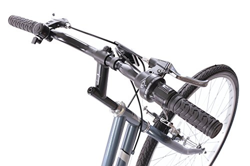 "41YjR5OIs6L - Professional Premium Womens 700c Hybrid Commuter Bike 18"" Frame 6 Speed Grey"