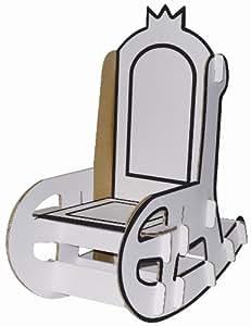 Villa carton - Rocking Chair blanc en carton à colorier