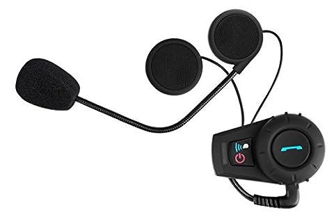 Catuo Motorbike Motorcycle Helmet Bluetooth Intercom Headset Ski Atv BT Interphone (Black,500m,UK Plug) for Cell Phones, GPS, MP3, Waterproof