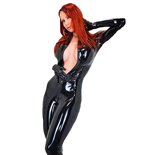 Sexy Cat Girl Wet Look Catsuit Patent Leather Bodysuit Sexy Zipper Party Club DS Kleidung,XXL