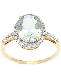 10 K oro amarillo 3ct óvalo verde amatista y anillo de diamante