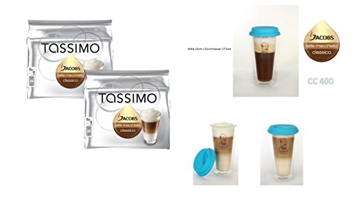 Tassimo Jacobs Krönung Latte Macchiato, 2er Pack (2 x 8 Portionen) Tassimo Latte Macchiato classico + Latte Gläser doppelwandig mit Silikon Deckel von James Premium (Tassimo Caramel Espresso)