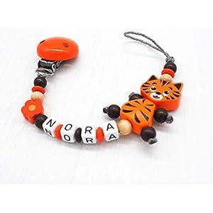 Schnullerkette Katze, Samtpfote, personalisiert, Name, Tiger, orange, braun