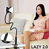 JAZLOG Universal Flexible Holder Arm Lazy 2.0 Mobile Phone Gooseneck Stand Holder Stents Flexible Bed Desk Table Clip Bracket for Phone Black