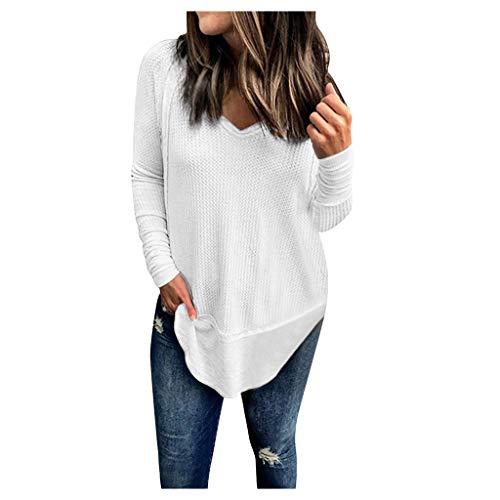 Geilisungren Damen Mode V-Ausschnitt Waffel Patchwork Langarm T-Shirt Lose Pullover Tops Unregelmäßiger Saum Tunika Bluse Freizeit Einfarbige Oberteile Pulli für Frauen -