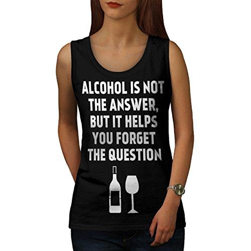 Alkohol Frage Komisch Getränk Problem Damen Schwarz S-2XL Muskelshirt   Wellcoda Schwarz